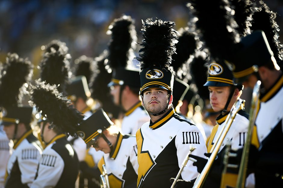 Members of Marching Mizzou prepare to perform during half-time. Photo by Shane Epping.