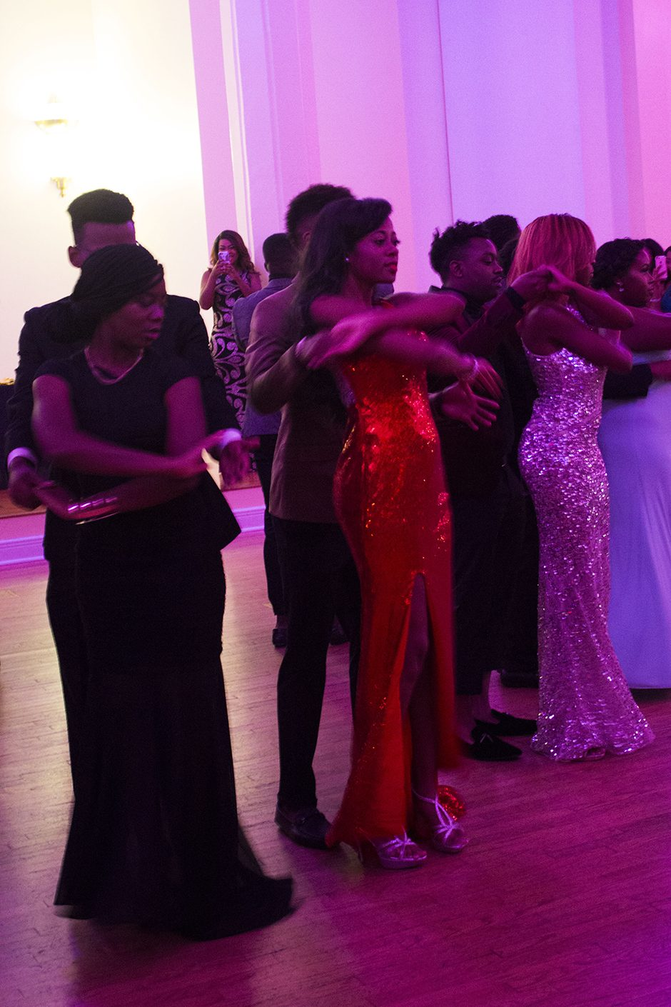 Attendees at the LBC Homecoming Black Tourmaline Ball have some fun on the dance floor. Photo by Ymani Wince