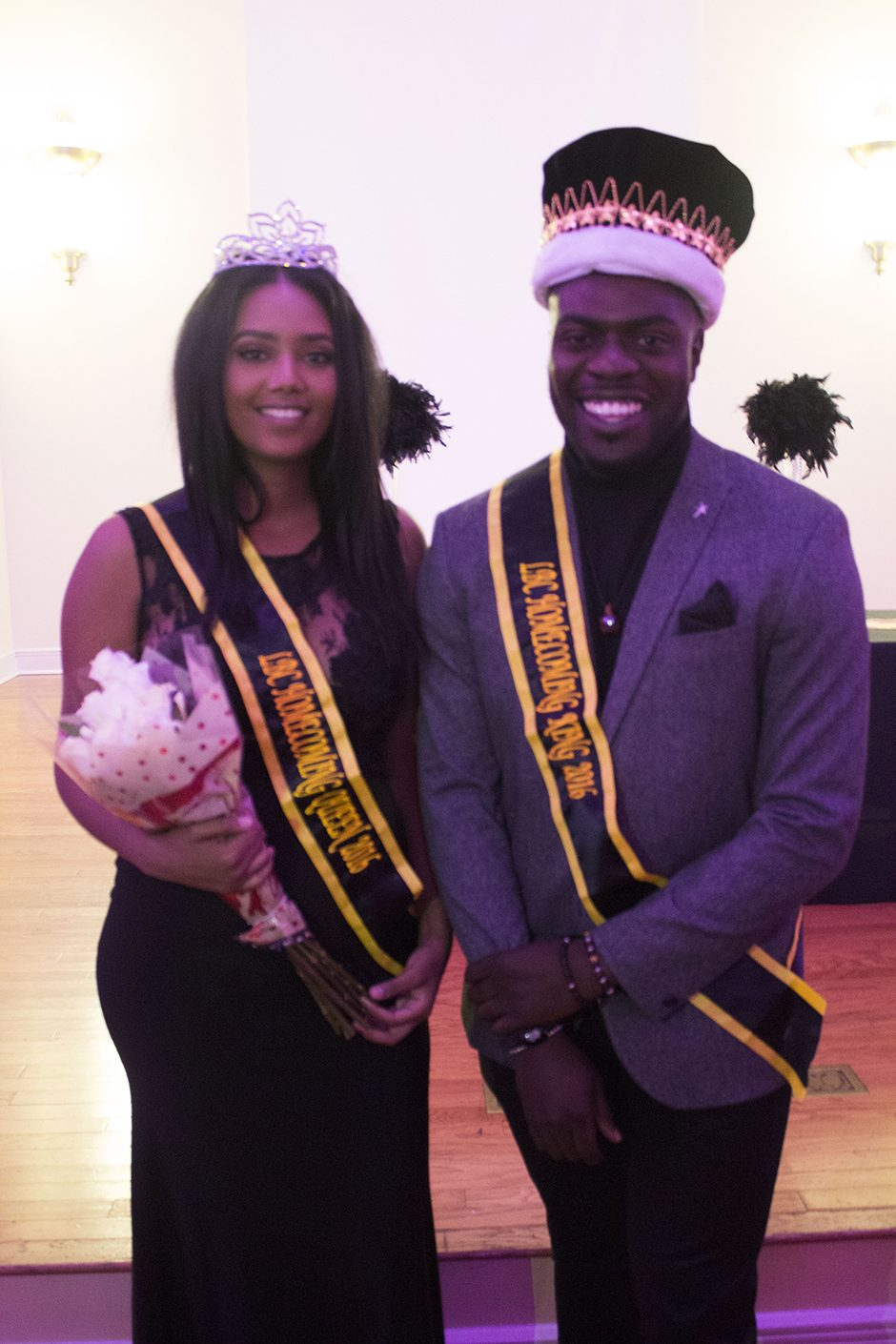 Seniors Maza Wole and Okey Ukaga are crowned this year's LBC Homecoming King and Queen. Photo by Ymani Wince