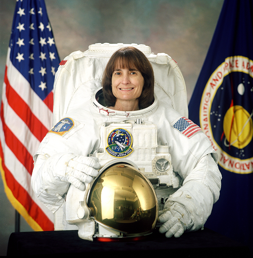 Linda Godwin in a space suit.