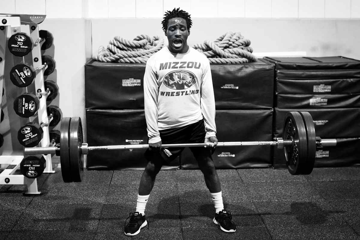 Barlow McGhee, 125-pound redshirt junior, completes a set of dead lifts in the Mizzou weightlifting room. Barlow is a 2014 SEC First-Year Honor Roll member and a 2016 MAC Champion. He fell one win short of All-American status at the 2016 Championships in New York City.