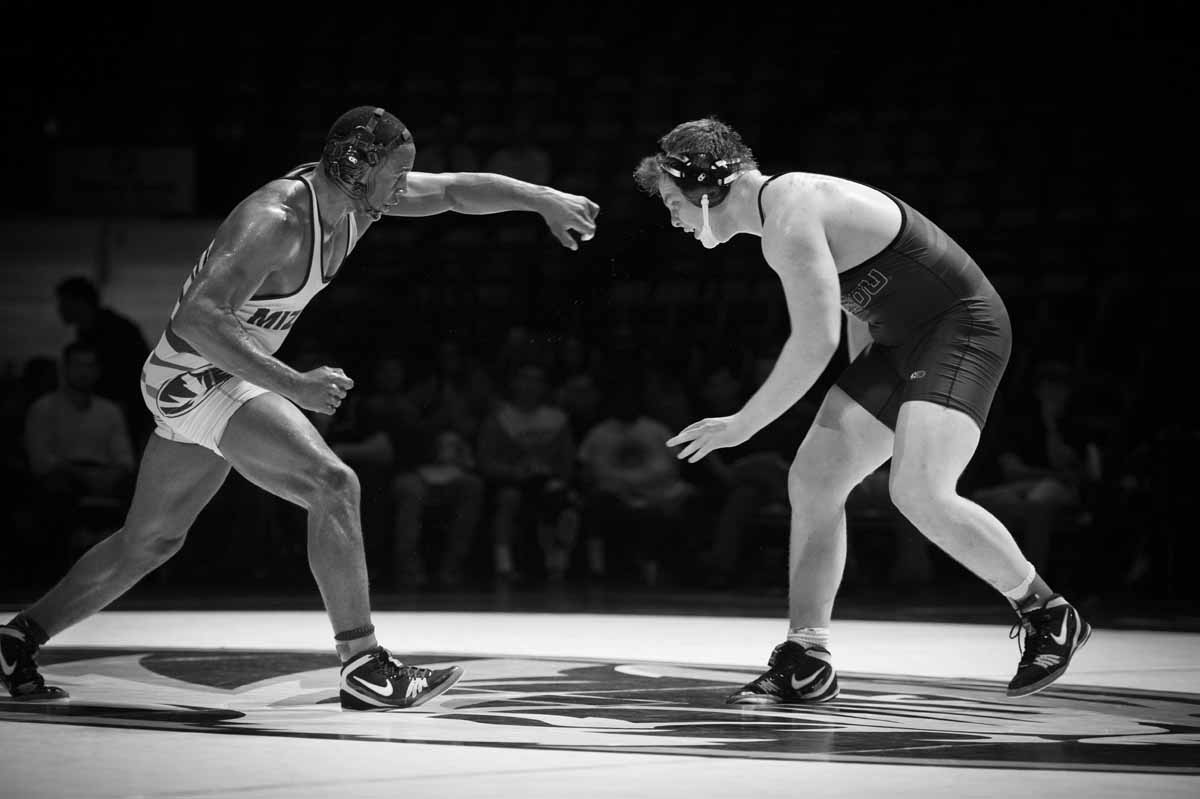 J'den Cox, a 197-pound senior, takes on his teammate, freshman Jake Bohlken, at the Black and Gold dual where Cox led the Gold team to a 27-21 win, November 3 in the Hearnes Center.