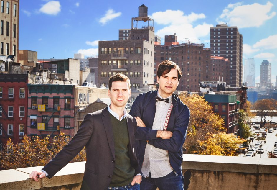 Tom Meyers and Greg Young on a rooftop in New York.