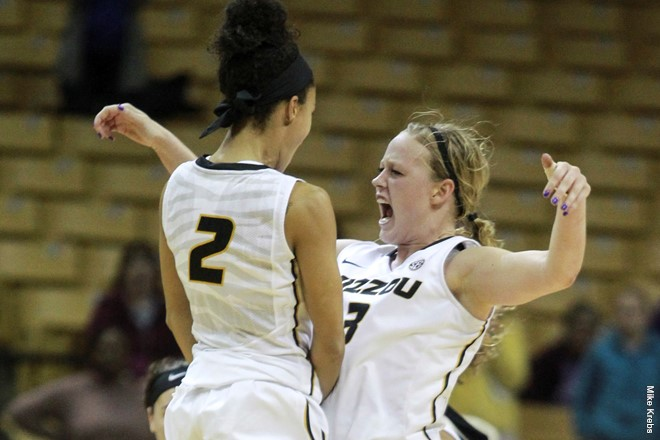 Sophie Cunningham celebrates with a teammate.