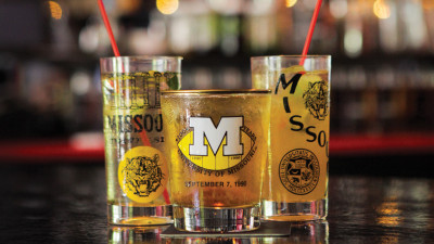 Booze in Mizzou glasses.