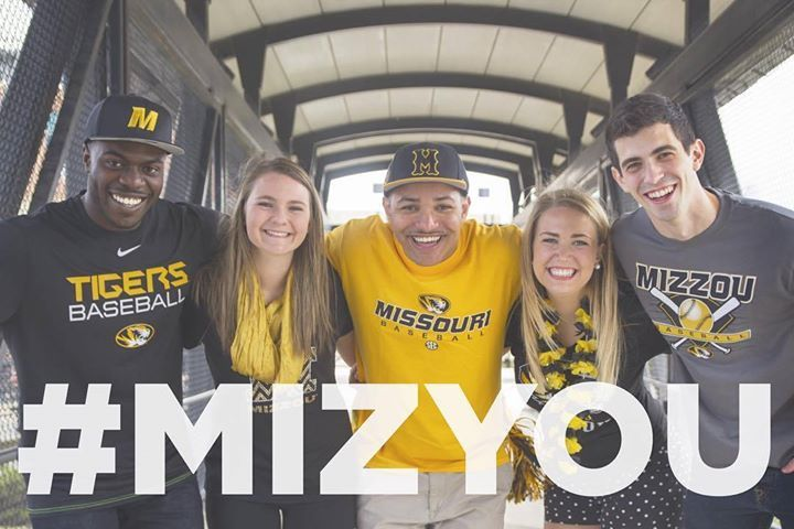 Students in Mizzou gear with the hashtag #MIZYOU across the photo.