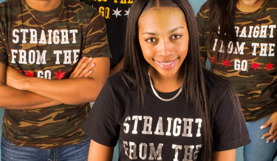 "Group of students wearing T-shirts that say ""Straight from the Go"""