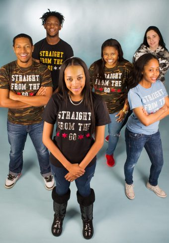 group of students modeling Straight from the Go shirts