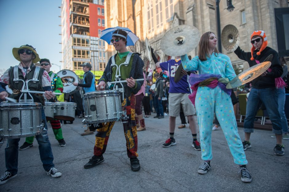 Percussionists in costumes.