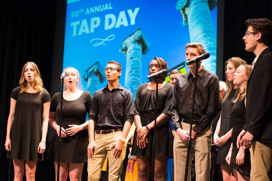 Mizzou Forte perform for the crowd at the 90th annual Tap Day.