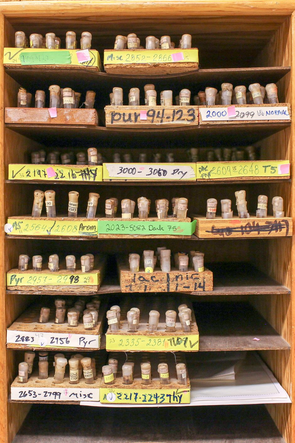 Closet full of bacteria vials