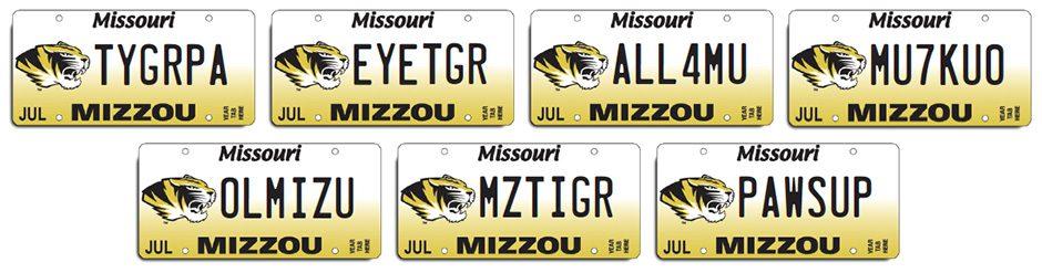 Mizzou license plates