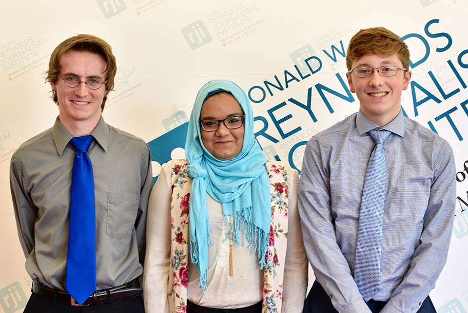 Three Reynolds Journalism Institute students.