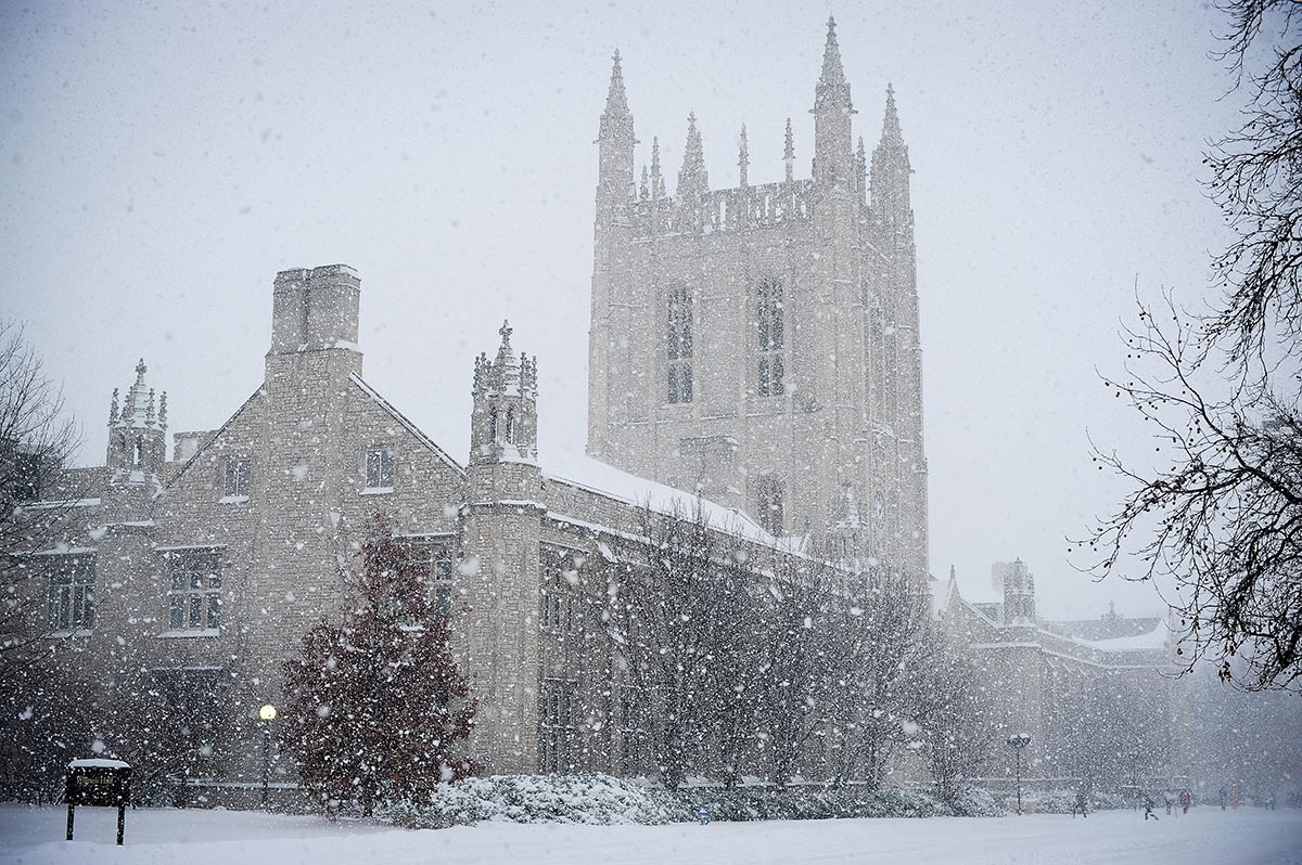 Memorial Union in a blizzard