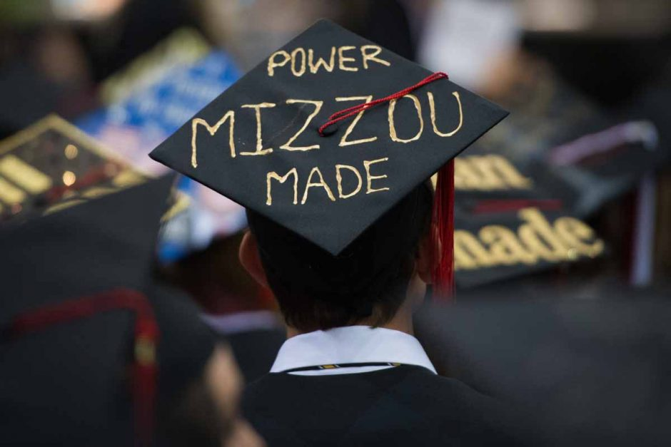 "Student wearing cap that says ""Power MIZZOU Made"""