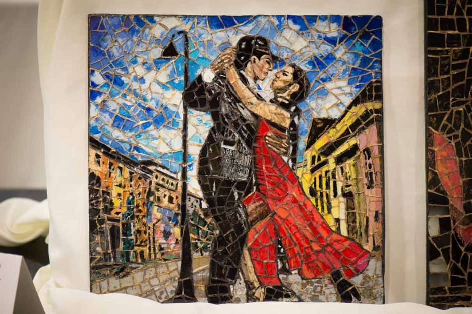 Two people dancing stained glass