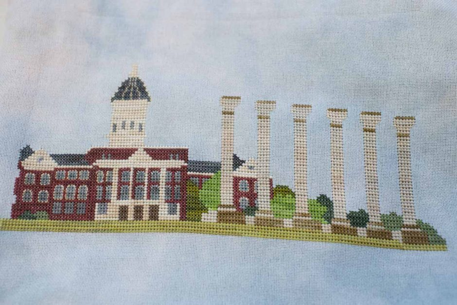 Cross stitch of Jesse Hall and the Columns