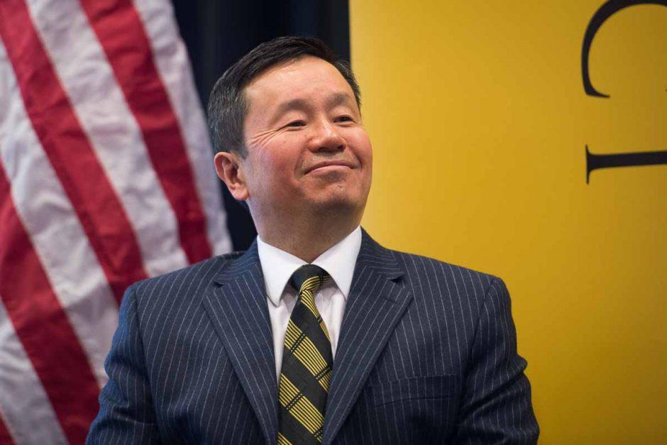 President Mun Choi smiles when Dr. Cartwright speaks of Choi's contagious enthusiasm.