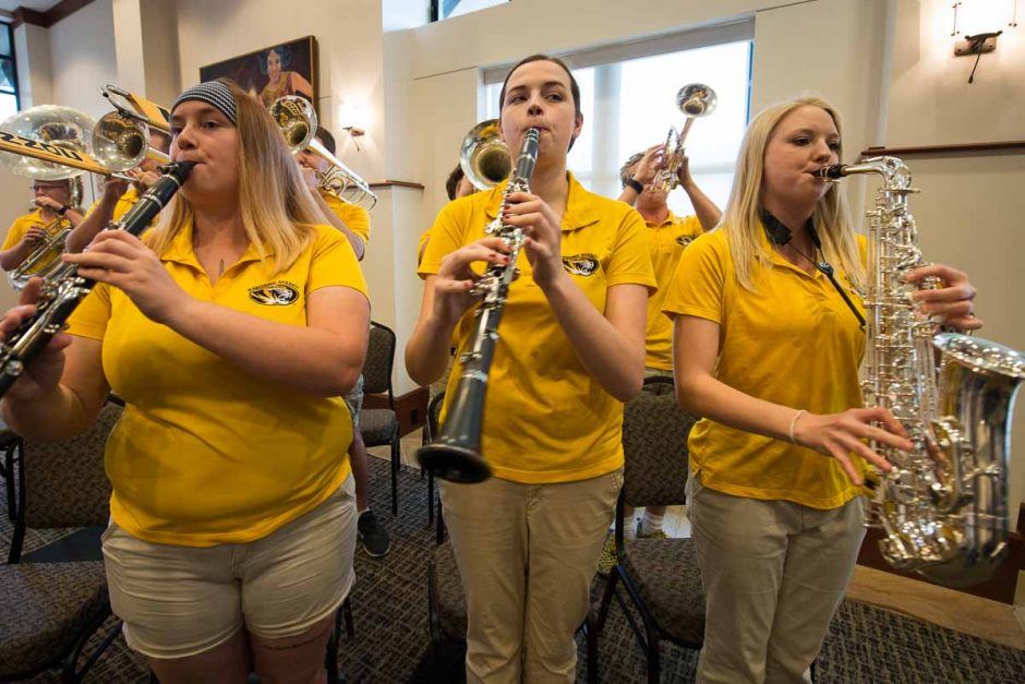 Members of Mini Mizzou entertain the crowd after Cartwright is officially announced as Mizzou's newest chancellor.