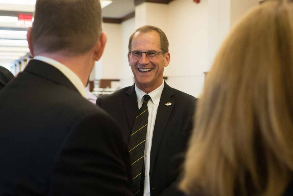 Mizzou athletic director Jim Sterk shares a laugh with Chancellor Cartwright during the reception that followed the press conference.