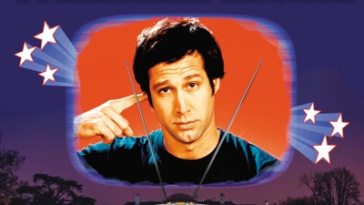 Illustration: A young Chevy Chase points to his head and stares straight at the viewer.