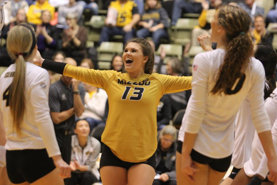 Alexa Ethridge celebrates during a volleyball match.