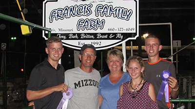 Pictured, left to right: Brant, Tony, Barb, Aly, Britton. Photo courtesy of the Francis family.