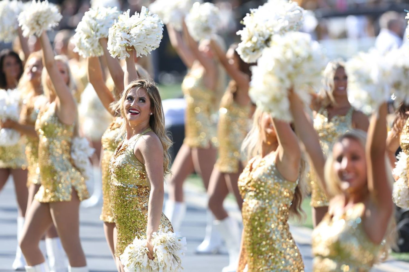 This is a picture of the Mizzou Golden Girls dancing.