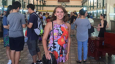 This is a picture of Allison Bonner in a train station in Vietnam