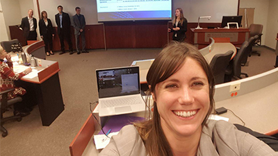 This is a picture of Maria Magner in a conference room for a College of Business event