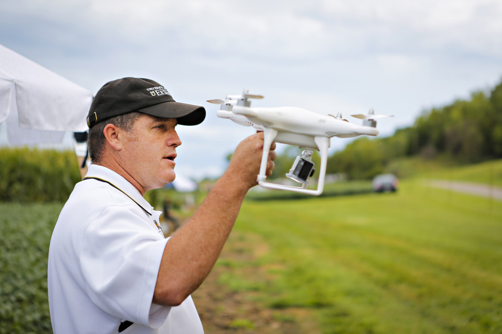 Kent Shannon, MU Extension natural resource engineering specialist, gave an update on where UAVs stand as a toll in agriculture. He showed his two quadcopters and how a mounted camera can take crop scouting and infrared pictures to benefit farmers.