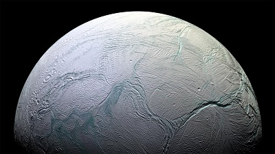 This is a picture of the moon, Enceladus