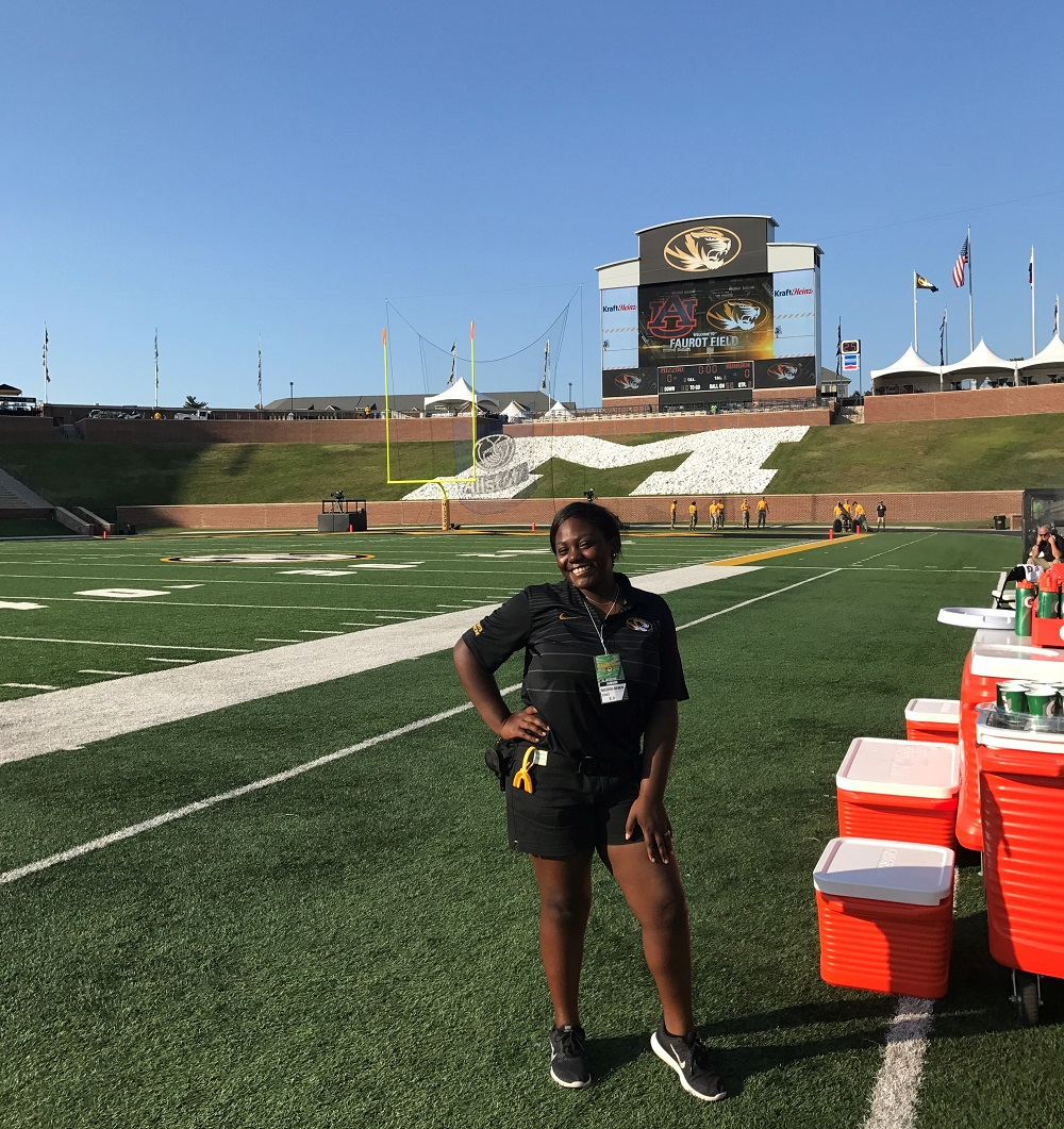 This is a picture of Melanie Graves on Faurot Field