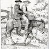 Illustration of two men riding a mule