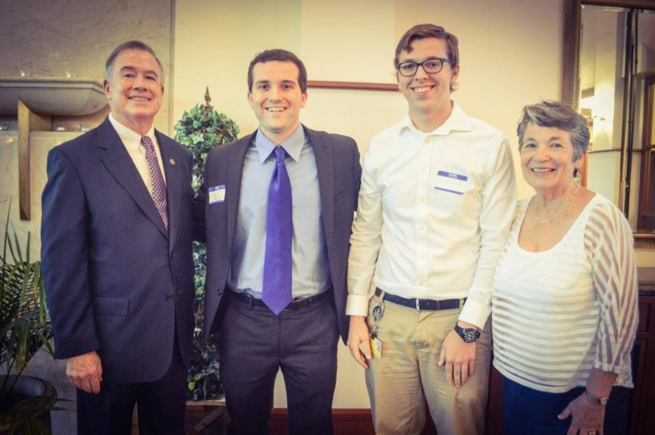 Picture of Jeremiah Vick (second from right) who was selected as Deaton Scholar. He is pictured with former Chancellor Brady Deaton (far left) and Anne Deaton (right).