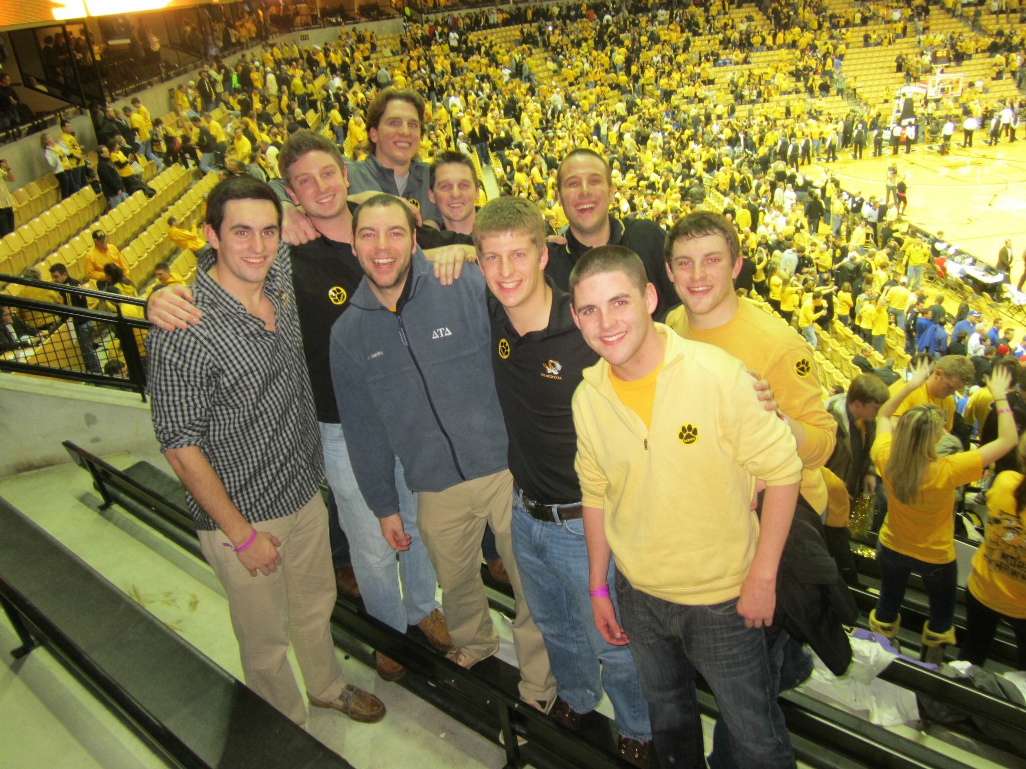 Picture of Fleming with friends at a Mizzou basketball game