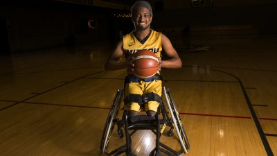 This is a picture of Mizzou Wheelchair Basketball player and student James Bohnett
