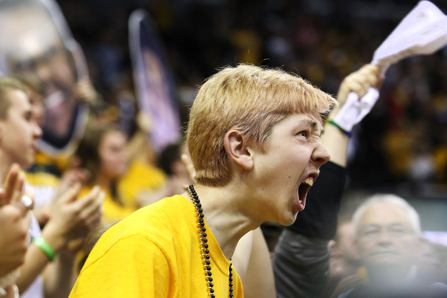 Cole Tussing cheers after Mizzou scores.
