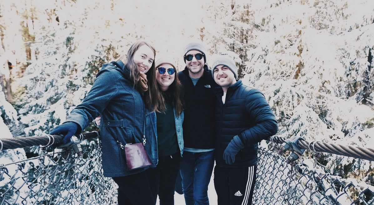 Mizzou students Emily Johnson, Marin Meiners, Riley de Leon and Alex Winkler stand on a bridge in Vancouver, Canada.