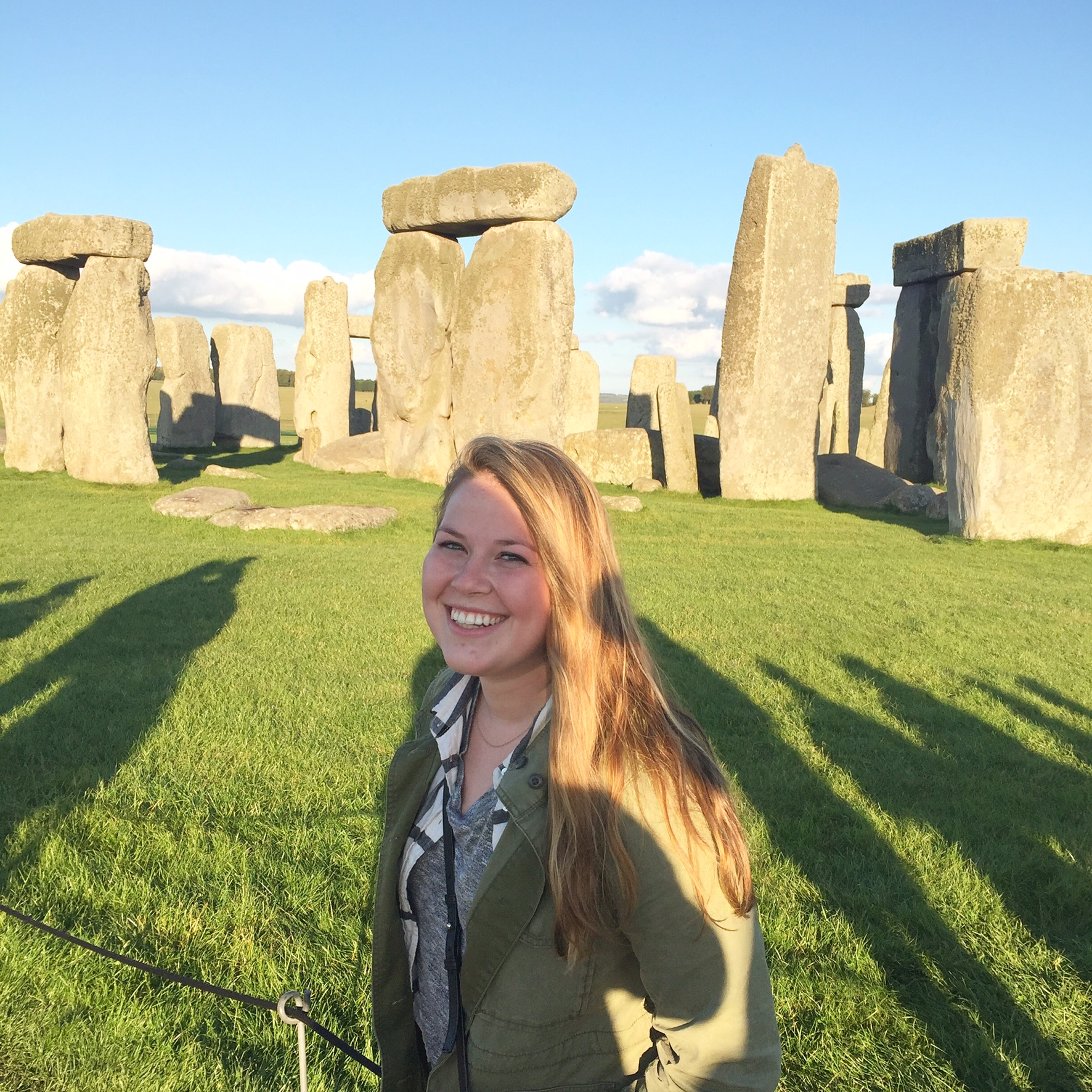 Marin Meiners enjoys a sunny day at Stonehenge in England.