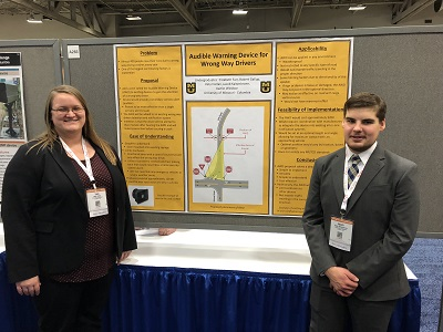 Katy Harlan and Jacob Kaltenbronn present their safe driving notification system at the Transportation Research Board meeting in Washington DC.