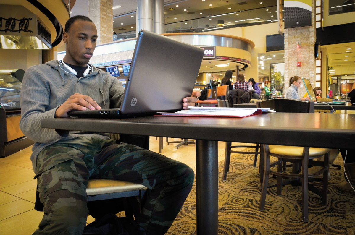 Whitley studies in the MU Student Center his sophomore year.