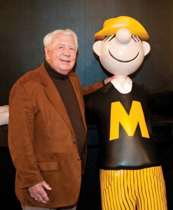 Mort Walker with Beetle Bailey statue