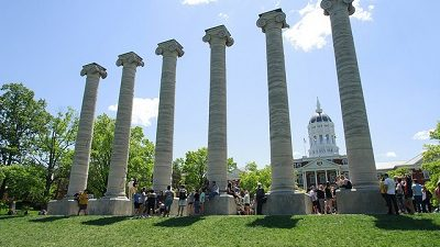This is a picture of students at the Columns on MU's campus