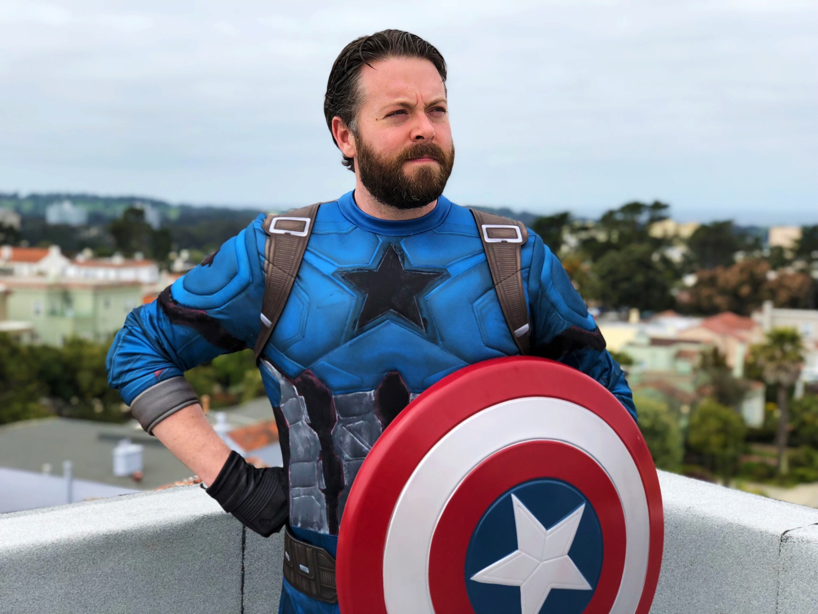 Picture of Greg Miller in a Captain America uniform