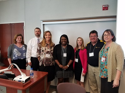 Pictured at left: Grace Atkins, MU Libraries; Dale Sanders, the Mizzou Store; and Health Sciences faculty members Molly Vetter-Smith, Botswana Blackburn, Jenna Wintemberg, Mark Kuhnert and Carolyn Orbann recently presented their work in AOER at the Mizzou Celebration of Teaching.