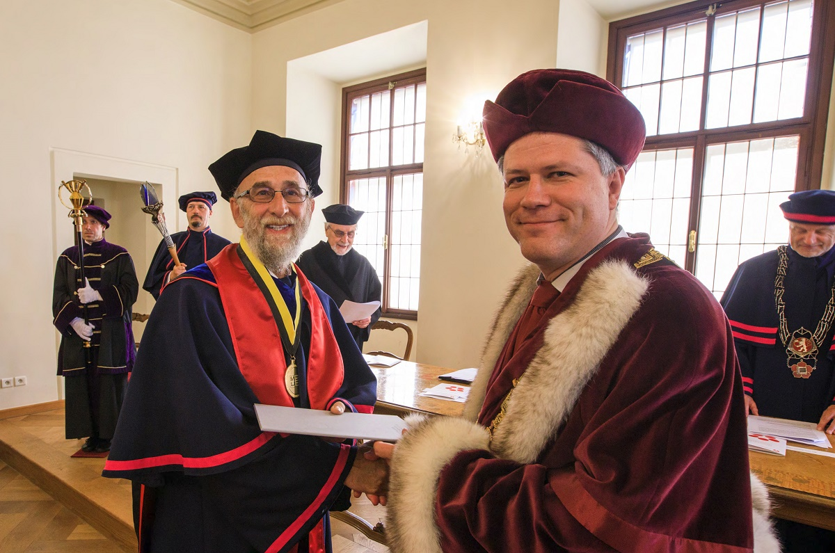 Picture of Rikoon receiving his honorary degree