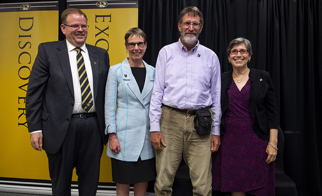 Chancellor Cartwright, Dean Pat Okker, Dr. George Smith and Dr. Marjorie Sable