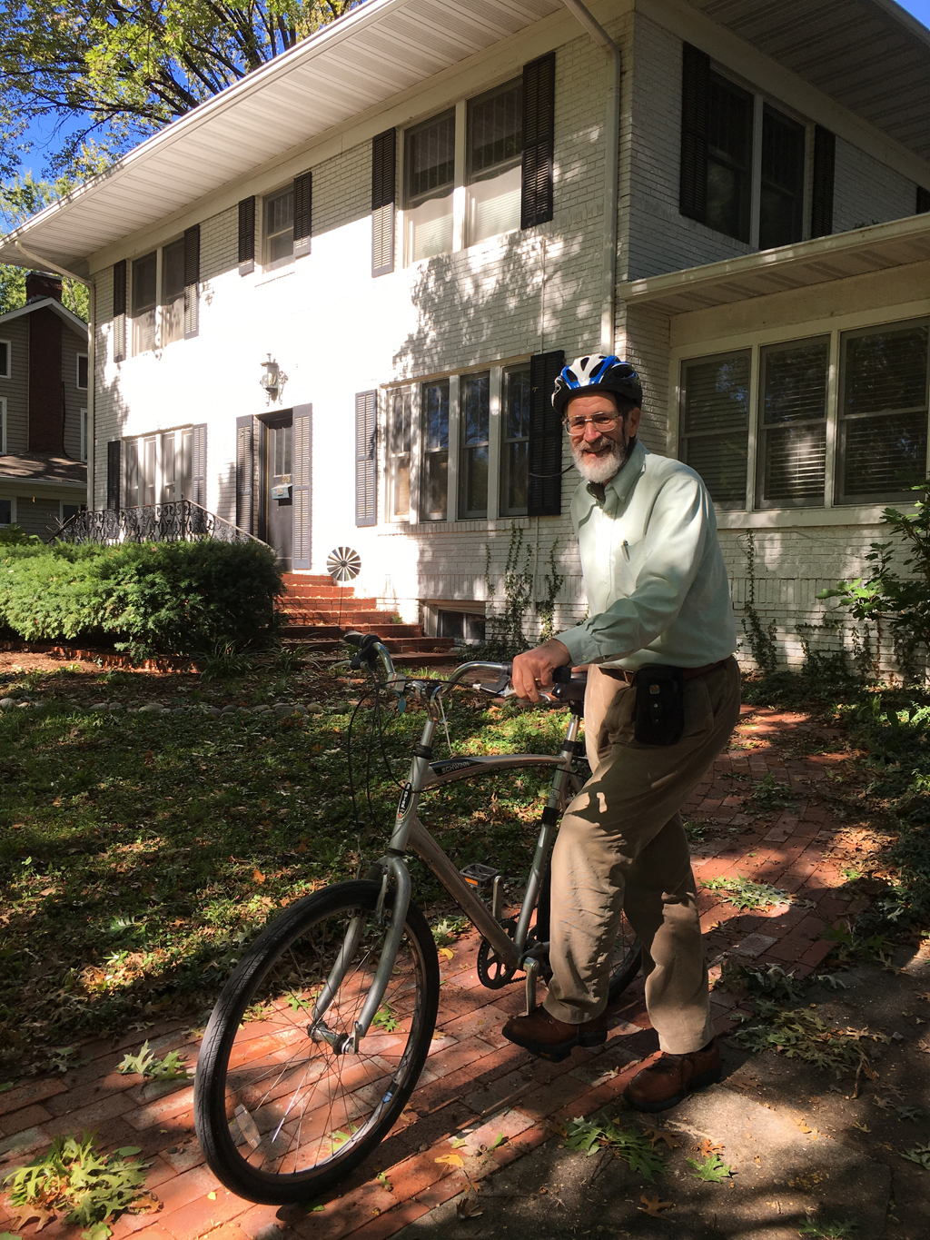 George P. Smith on bicycle