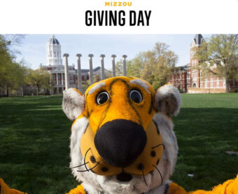This is a picture of Truman the Tiger on the quad.
